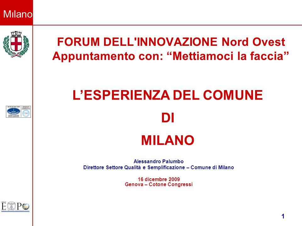 Milano 1 FORUM DELL'INNOVAZIONE Nord Ovest Appuntamento con: Mettiamoci la faccia Alessandro Palumbo Direttore Settore Qualità e Semplificazione – Com