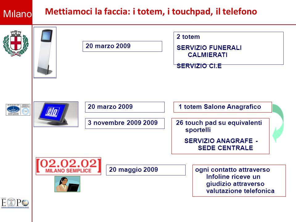 Milano Mettiamoci la faccia: i totem, i touchpad, il telefono 2 totem SERVIZIO FUNERALI CALMIERATI SERVIZIO CI.E 20 marzo 2009 1 totem Salone Anagrafi