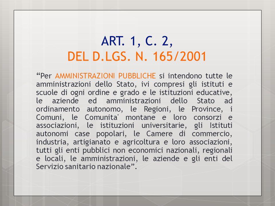 ART. 1, C. 2, DEL D.LGS. N. 165/2001 Per AMMINISTRAZIONI PUBBLICHE si intendono tutte le amministrazioni dello Stato, ivi compresi gli istituti e scuo