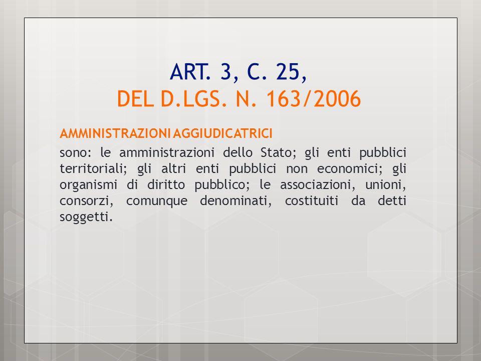 ART. 3, C. 25, DEL D.LGS. N. 163/2006 AMMINISTRAZIONI AGGIUDICATRICI sono: le amministrazioni dello Stato; gli enti pubblici territoriali; gli altri e