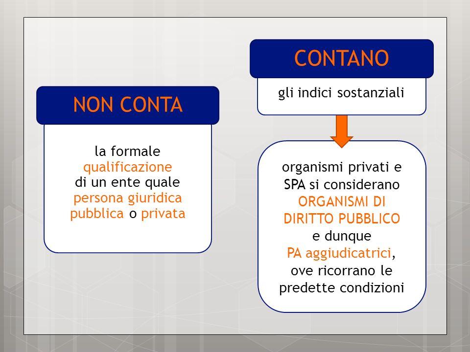 la formale qualificazione di un ente quale persona giuridica pubblica o privata NON CONTA organismi privati e SPA si considerano ORGANISMI DI DIRITTO