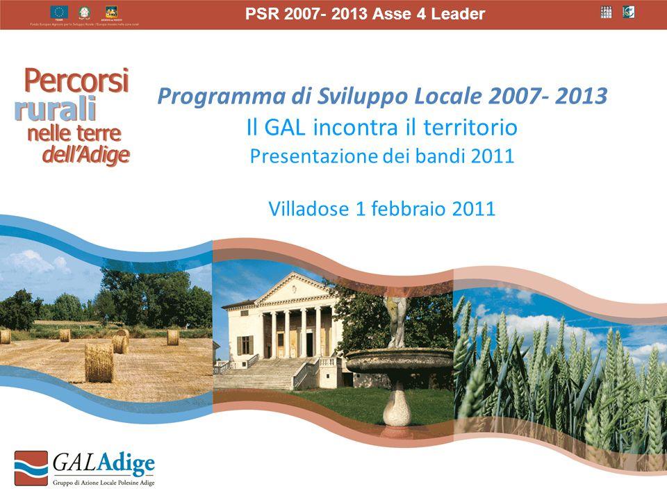 Programma di Sviluppo Locale 2007- 2013 Il GAL incontra il territorio Presentazione dei bandi 2011 Villadose 1 febbraio 2011 PSR 2007- 2013 Asse 4 Leader