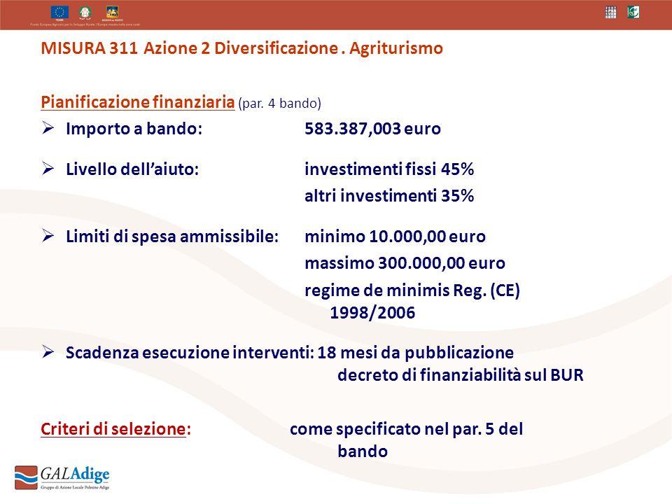 MISURA 311 Azione 2 Diversificazione. Agriturismo Pianificazione finanziaria (par.