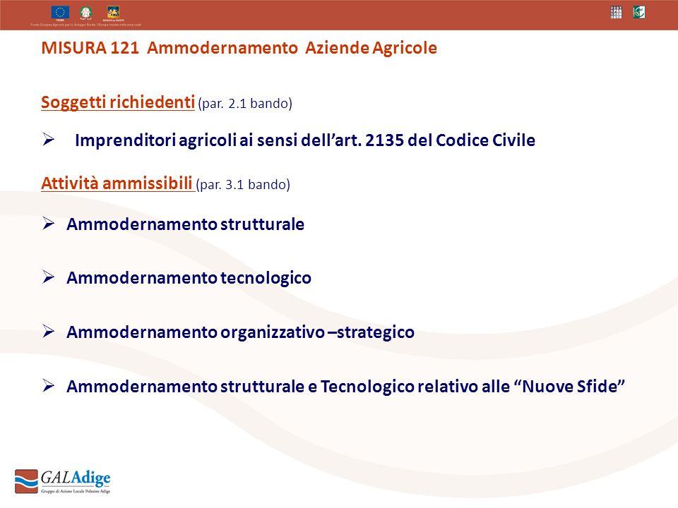 MISURA 121 Ammodernamento Aziende Agricole Soggetti richiedenti (par.