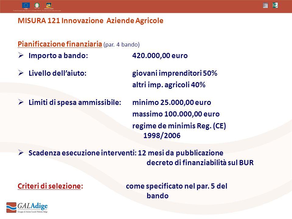 MISURA 121 Innovazione Aziende Agricole Pianificazione finanziaria (par.