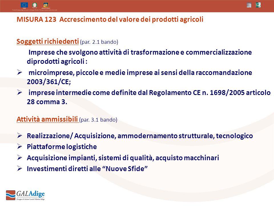 MISURA 123 Accrescimento del valore dei prodotti agricoli Soggetti richiedenti (par.