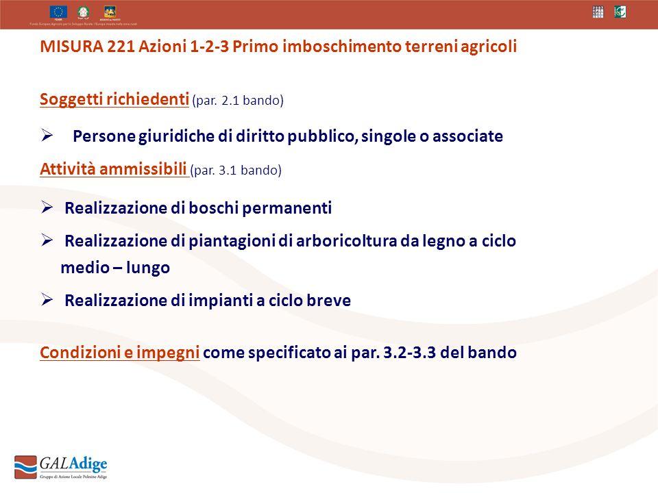MISURA 221 Azioni 1-2-3 Primo imboschimento terreni agricoli Soggetti richiedenti (par.