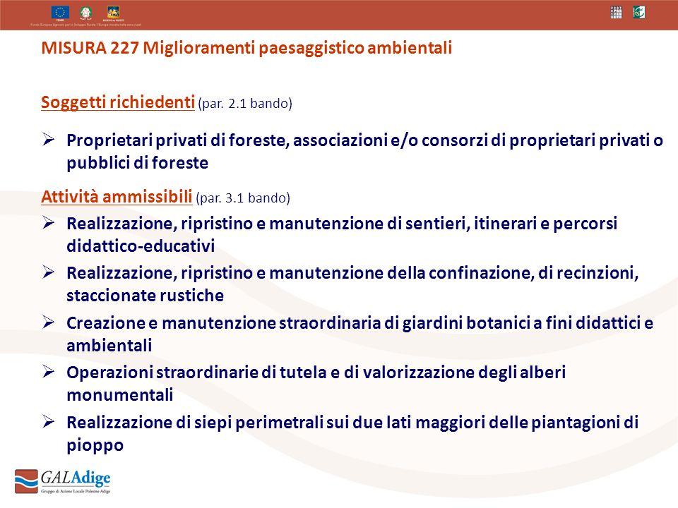 MISURA 227 Miglioramenti paesaggistico ambientali Soggetti richiedenti (par.