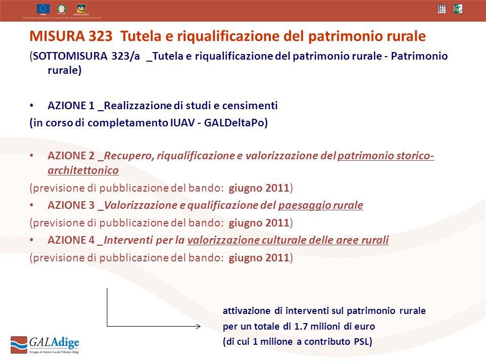MISURA 323 Tutela e riqualificazione del patrimonio rurale (SOTTOMISURA 323/a _Tutela e riqualificazione del patrimonio rurale - Patrimonio rurale) AZIONE 1 _Realizzazione di studi e censimenti (in corso di completamento IUAV - GALDeltaPo) AZIONE 2 _Recupero, riqualificazione e valorizzazione del patrimonio storico- architettonico (previsione di pubblicazione del bando: giugno 2011) AZIONE 3 _Valorizzazione e qualificazione del paesaggio rurale (previsione di pubblicazione del bando: giugno 2011) AZIONE 4 _Interventi per la valorizzazione culturale delle aree rurali (previsione di pubblicazione del bando: giugno 2011) attivazione di interventi sul patrimonio rurale per un totale di 1.7 milioni di euro (di cui 1 milione a contributo PSL)