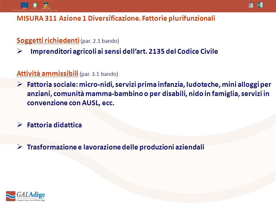 MISURA 311 Azione 1 Diversificazione. Fattorie plurifunzionali Soggetti richiedenti (par.