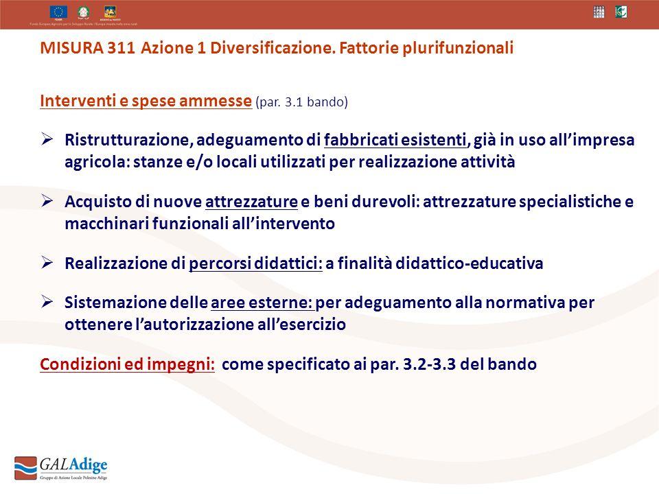 MISURA 311 Azione 1 Diversificazione. Fattorie plurifunzionali Interventi e spese ammesse (par.