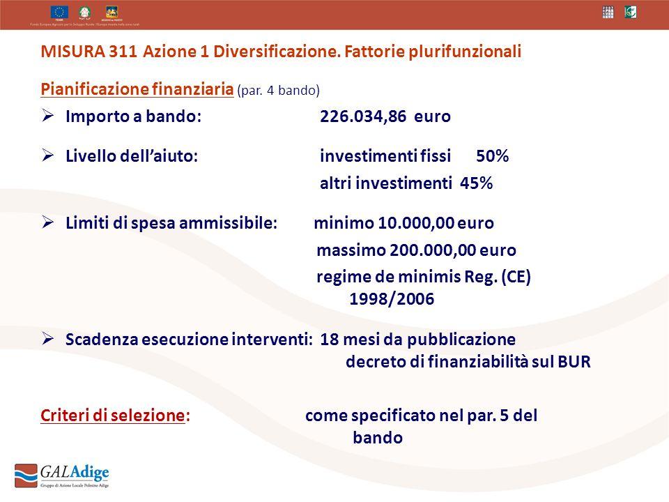 MISURA 311 Azione 1 Diversificazione. Fattorie plurifunzionali Pianificazione finanziaria (par.