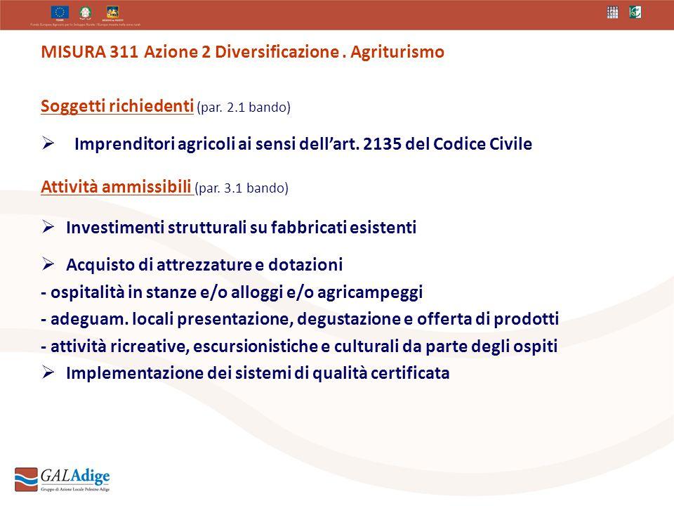 MISURA 311 Azione 2 Diversificazione. Agriturismo Soggetti richiedenti (par.
