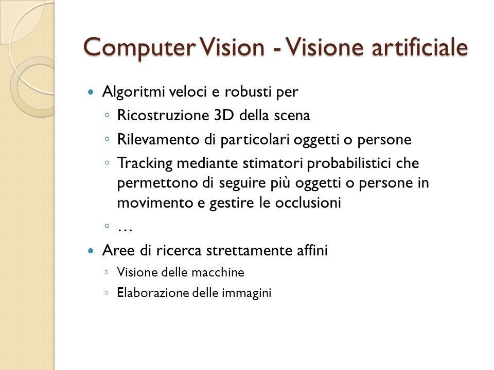 Computer Vision - Visione artificiale Algoritmi veloci e robusti per Ricostruzione 3D della scena Rilevamento di particolari oggetti o persone Trackin