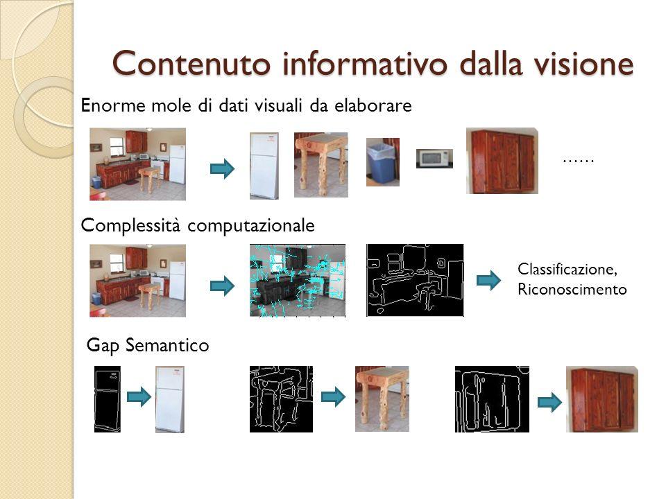 Contenuto informativo dalla visione Enorme mole di dati visuali da elaborare Complessità computazionale Gap Semantico …… Classificazione, Riconoscimen