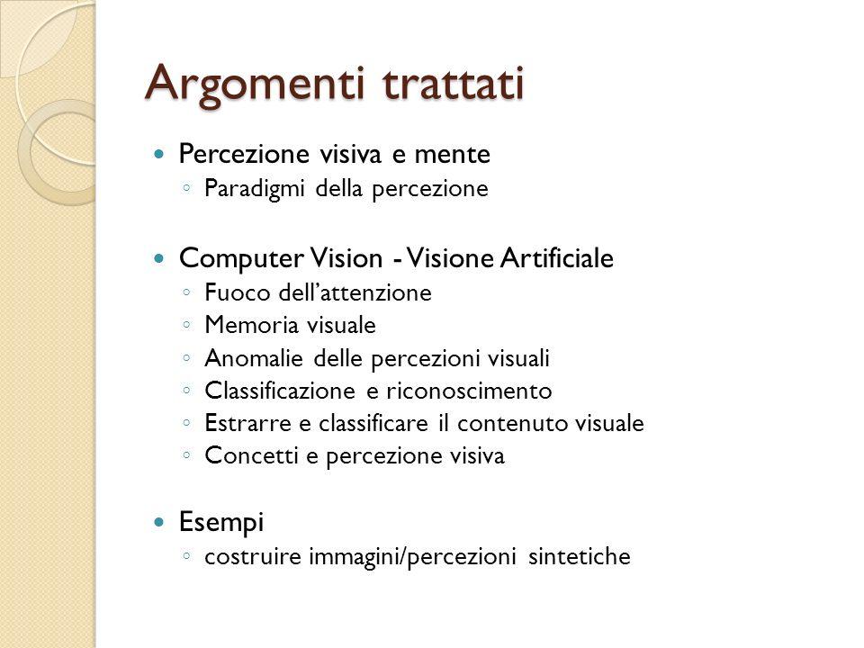 Argomenti trattati Percezione visiva e mente Paradigmi della percezione Computer Vision - Visione Artificiale Fuoco dellattenzione Memoria visuale Ano