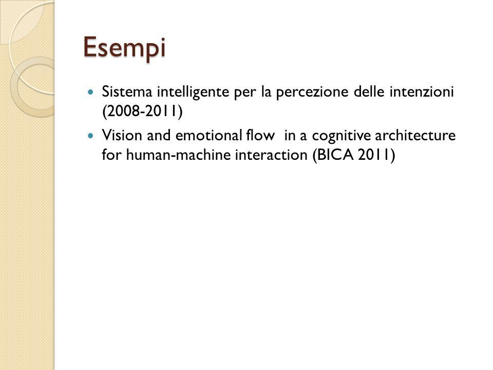 Esempi Sistema intelligente per la percezione delle intenzioni (2008-2011) Vision and emotional flow in a cognitive architecture for human-machine int