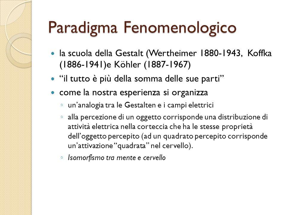 Paradigma Fenomenologico la scuola della Gestalt (Wertheimer 1880-1943, Koffka (1886-1941)e Köhler (1887-1967) il tutto è più della somma delle sue pa
