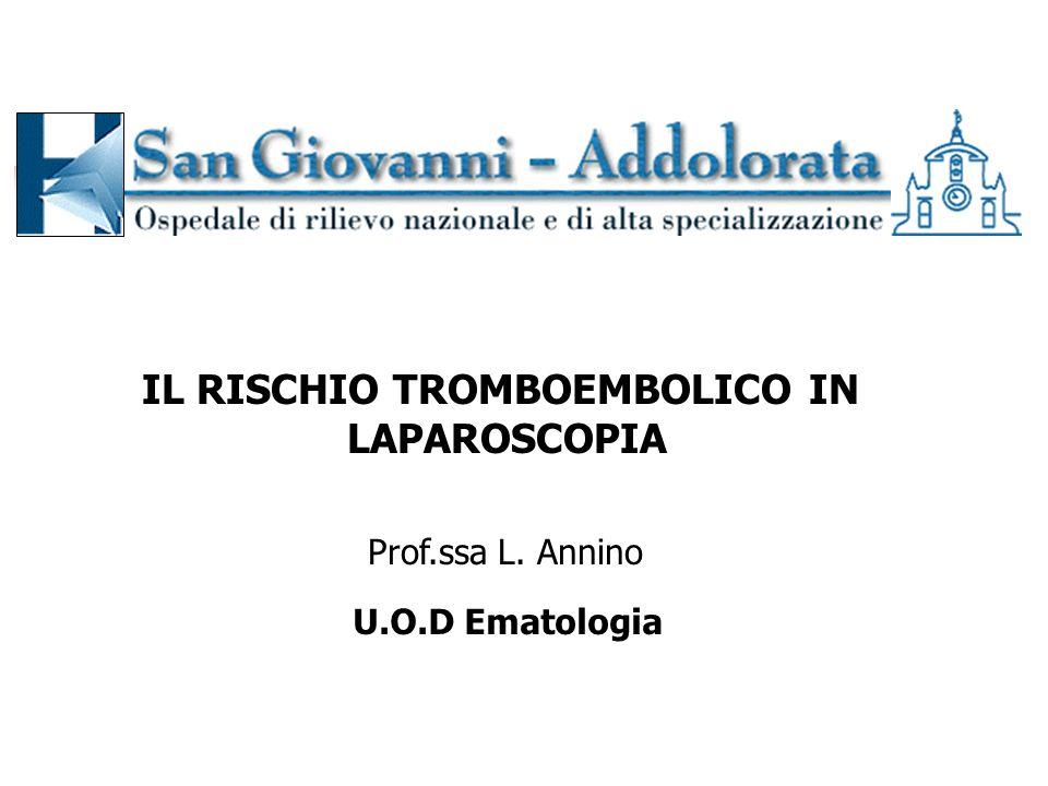 U.O.D Ematologia Prof.ssa L. Annino IL RISCHIO TROMBOEMBOLICO IN LAPAROSCOPIA