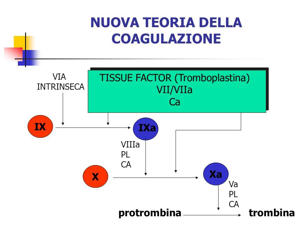 NUOVA TEORIA DELLA COAGULAZIONE IX IXa TISSUE FACTOR (Tromboplastina) VII/VIIa Ca VIIIa PL CA protrombinatrombina X Xa Va PL CA VIA INTRINSECA
