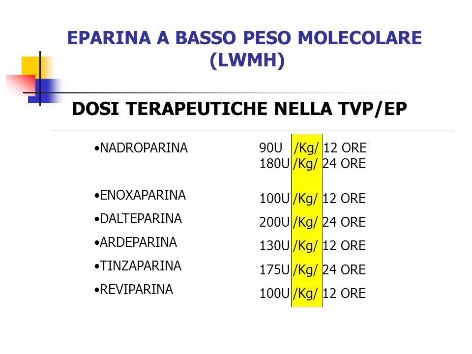 EPARINA A BASSO PESO MOLECOLARE (LWMH) NADROPARINA ENOXAPARINA DALTEPARINA ARDEPARINA TINZAPARINA REVIPARINA DOSI TERAPEUTICHE NELLA TVP/EP 90U /Kg/ 1