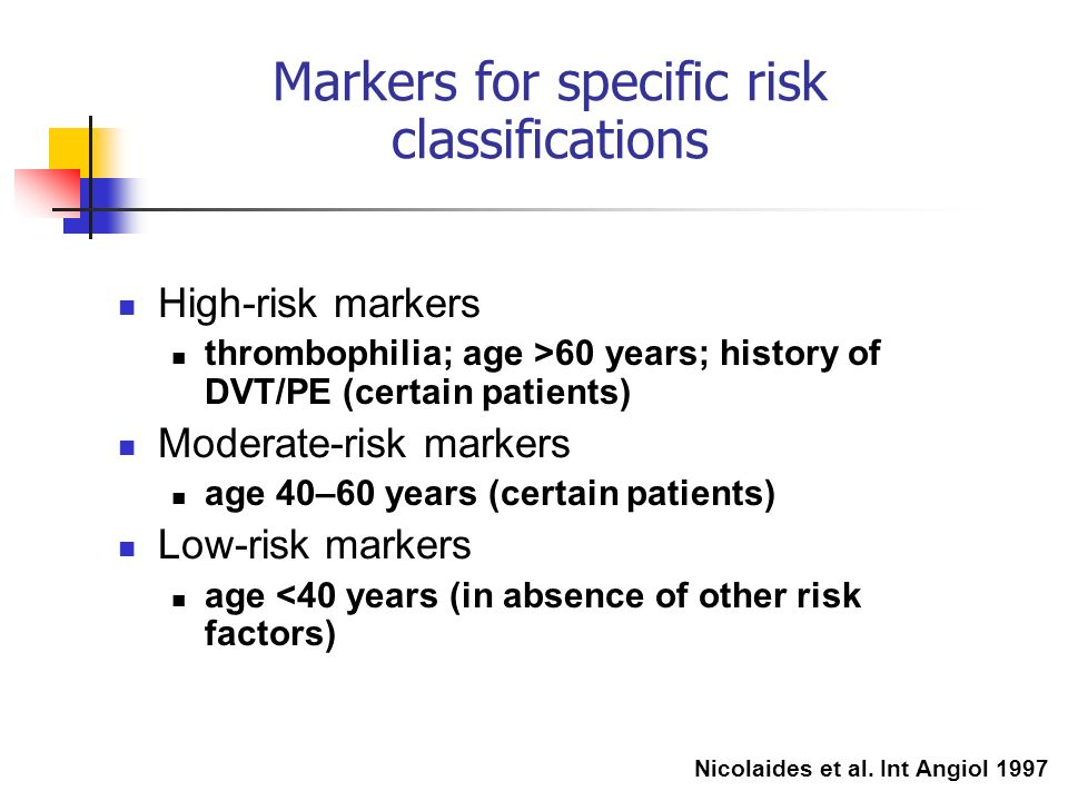 Markers for specific risk classifications High-risk markers thrombophilia; age >60 years; history of DVT/PE (certain patients) Moderate-risk markers a