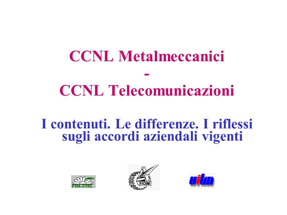 1 CCNL Metalmeccanici - CCNL Telecomunicazioni I contenuti. Le differenze. I riflessi sugli accordi aziendali vigenti