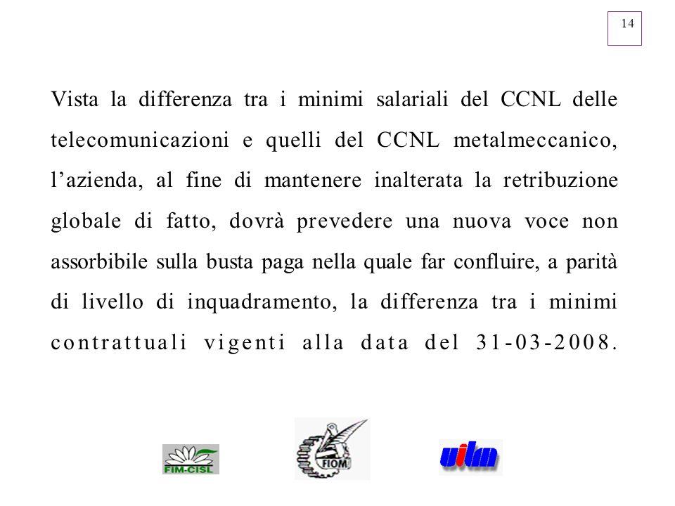 14 Vista la differenza tra i minimi salariali del CCNL delle telecomunicazioni e quelli del CCNL metalmeccanico, lazienda, al fine di mantenere inalte