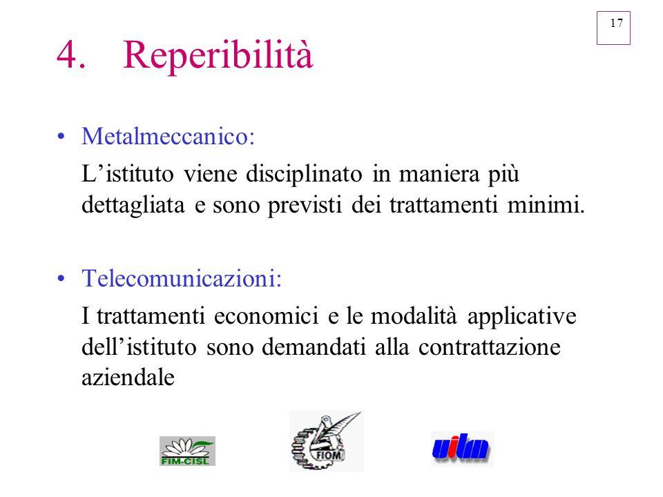 17 4.Reperibilità Metalmeccanico: Listituto viene disciplinato in maniera più dettagliata e sono previsti dei trattamenti minimi. Telecomunicazioni: I