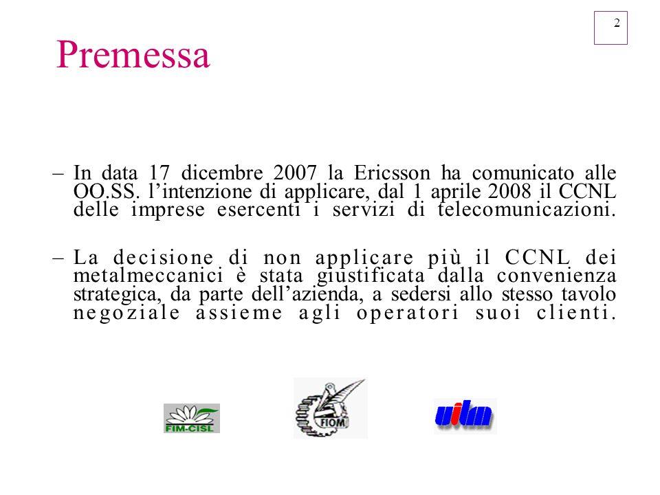 2 Premessa –In data 17 dicembre 2007 la Ericsson ha comunicato alle OO.SS. lintenzione di applicare, dal 1 aprile 2008 il CCNL delle imprese esercenti