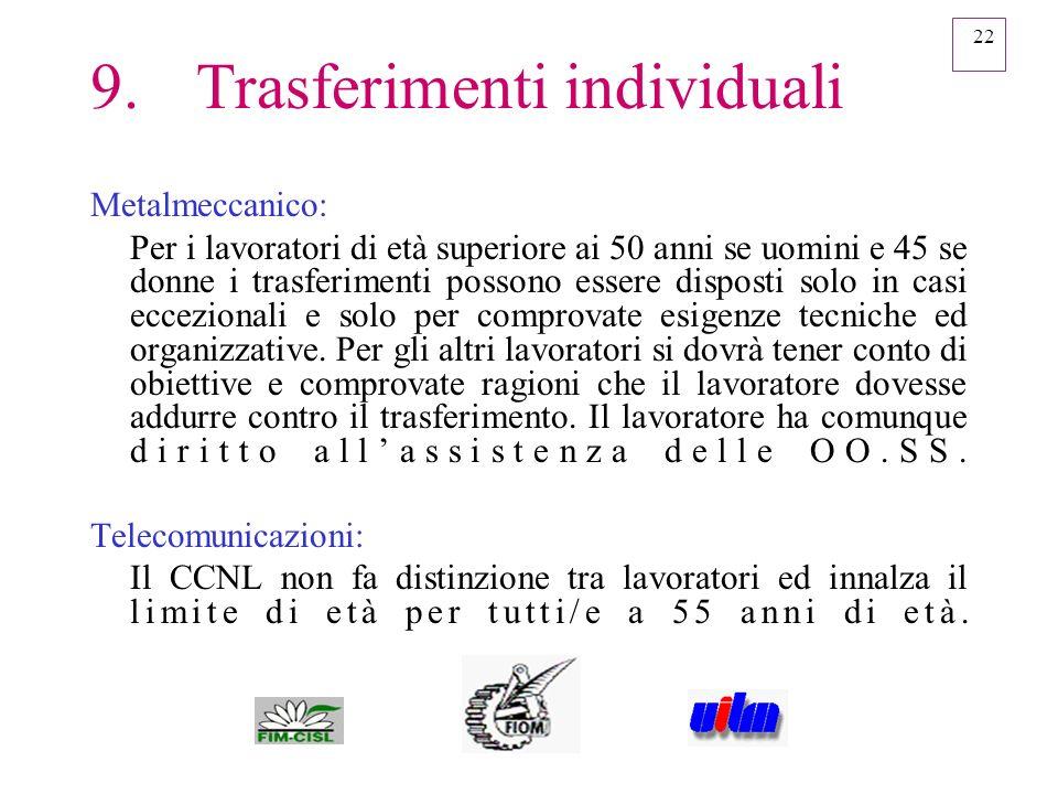 22 9.Trasferimenti individuali Metalmeccanico: Per i lavoratori di età superiore ai 50 anni se uomini e 45 se donne i trasferimenti possono essere dis