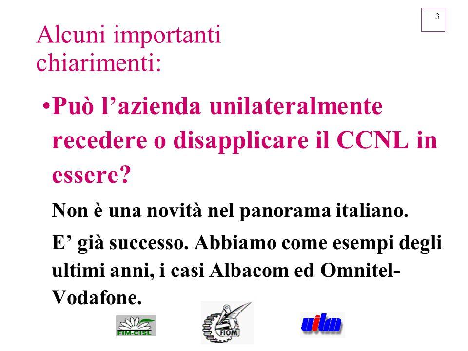 3 Alcuni importanti chiarimenti: Può lazienda unilateralmente recedere o disapplicare il CCNL in essere? Non è una novità nel panorama italiano. E già