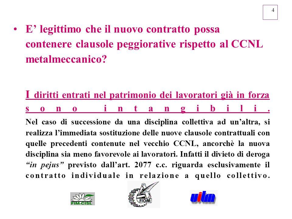 4 E legittimo che il nuovo contratto possa contenere clausole peggiorative rispetto al CCNL metalmeccanico? I diritti entrati nel patrimonio dei lavor
