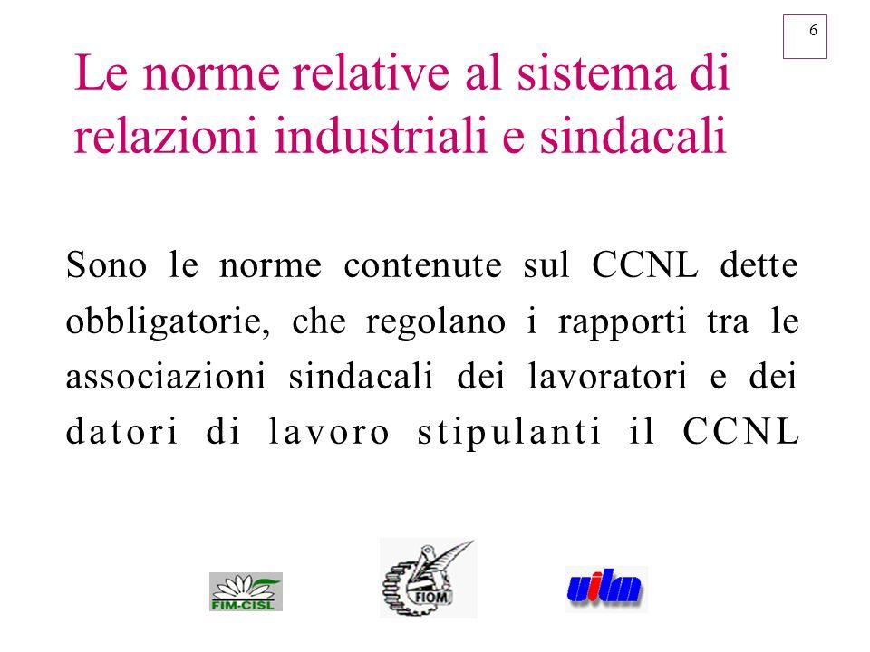 6 Le norme relative al sistema di relazioni industriali e sindacali Sono le norme contenute sul CCNL dette obbligatorie, che regolano i rapporti tra l