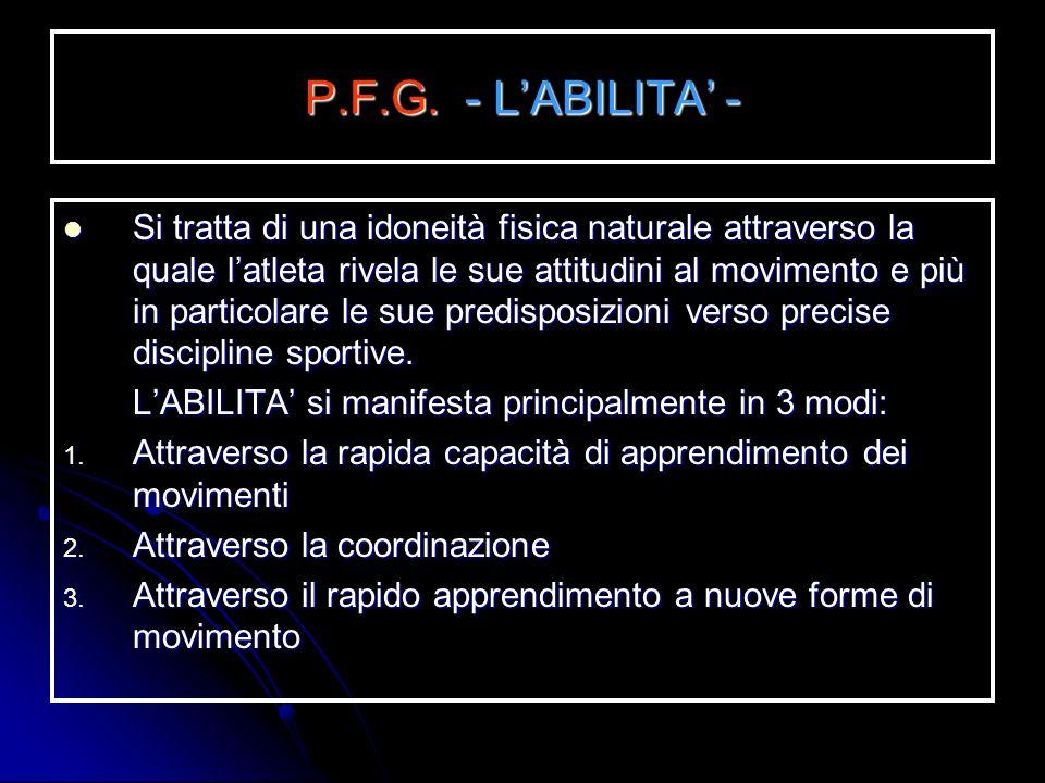 P.F.G. - LA VELOCITA - E la qualità fisica che permette di spostarci velocemente o di spostare un oggetto in modo rapido. E la qualità fisica che perm