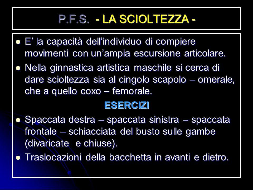 P.F.S. - LA TENUTA DEL CORPO - E la capacità che ha un atleta (nel caso specifico un ginnasta) di mantenere tutti i segmenti del corpo in linea. In qu