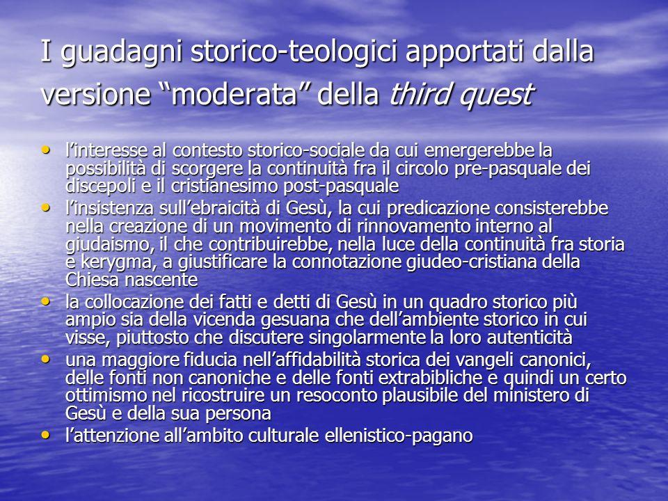 I guadagni storico-teologici apportati dalla versione moderata della third quest linteresse al contesto storico-sociale da cui emergerebbe la possibil