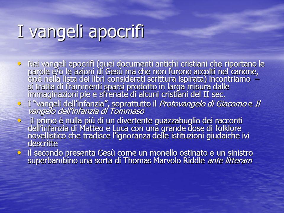 I vangeli apocrifi Nei vangeli apocrifi (quei documenti antichi cristiani che riportano le parole e/o le azioni di Gesù ma che non furono accolti nel