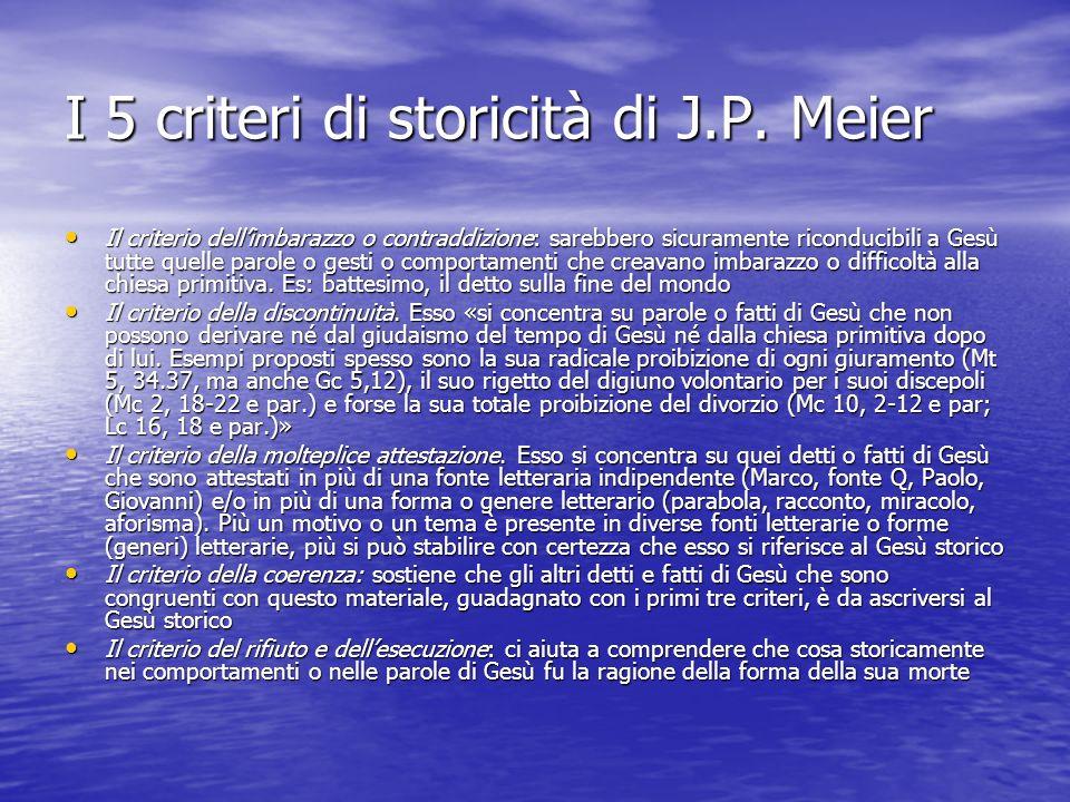 I 5 criteri di storicità di J.P. Meier Il criterio dellimbarazzo o contraddizione: sarebbero sicuramente riconducibili a Gesù tutte quelle parole o ge