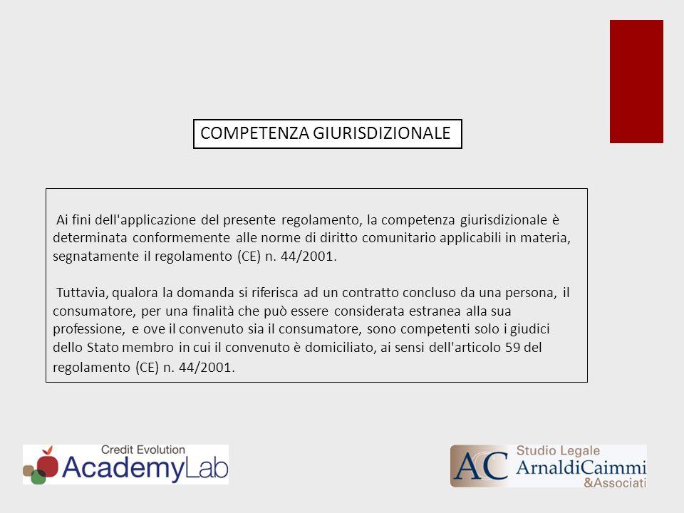Ai fini dell'applicazione del presente regolamento, la competenza giurisdizionale è determinata conformemente alle norme di diritto comunitario applic