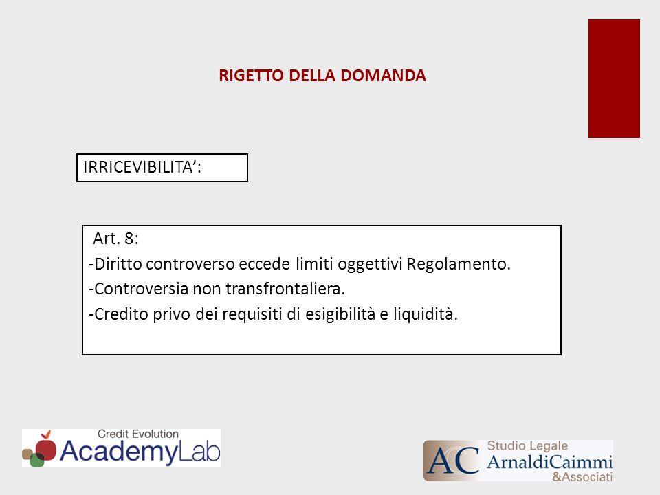 RIGETTO DELLA DOMANDA IRRICEVIBILITA: Art. 8: -Diritto controverso eccede limiti oggettivi Regolamento. -Controversia non transfrontaliera. -Credito p