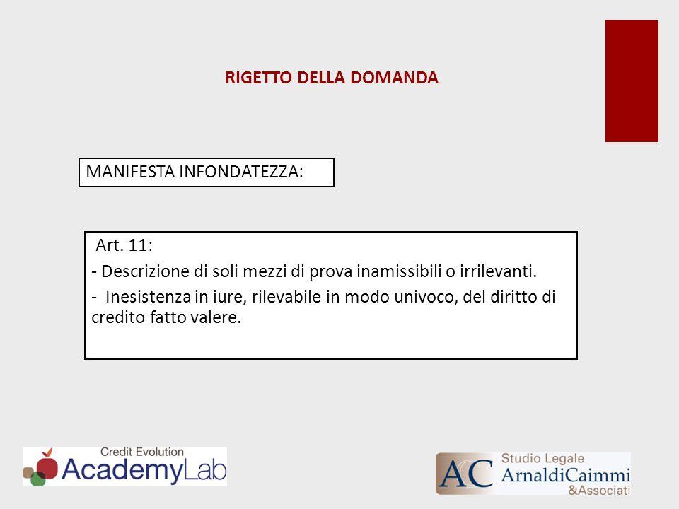 RIGETTO DELLA DOMANDA MANIFESTA INFONDATEZZA: Art. 11: - Descrizione di soli mezzi di prova inamissibili o irrilevanti. - Inesistenza in iure, rilevab