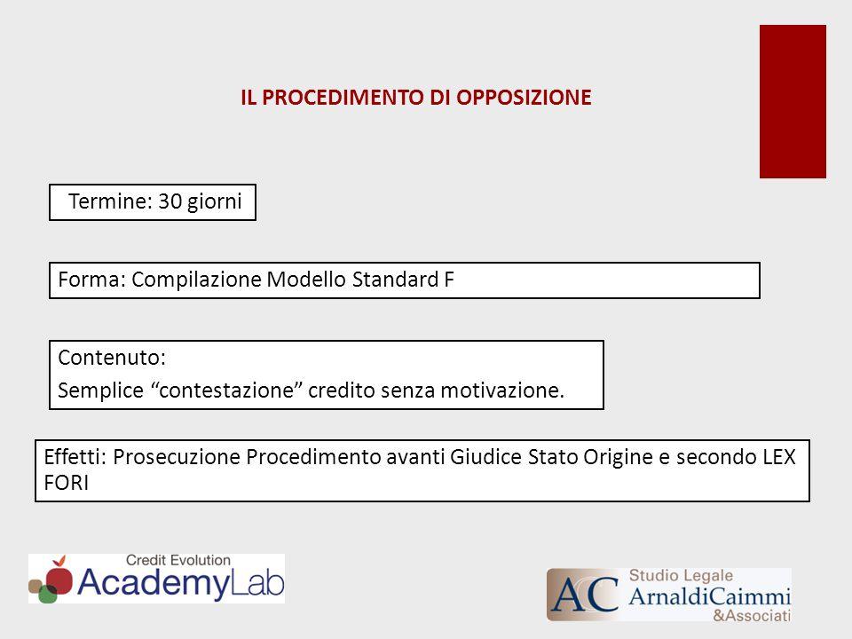 IL PROCEDIMENTO DI OPPOSIZIONE Termine: 30 giorni Forma: Compilazione Modello Standard F Contenuto: Semplice contestazione credito senza motivazione.