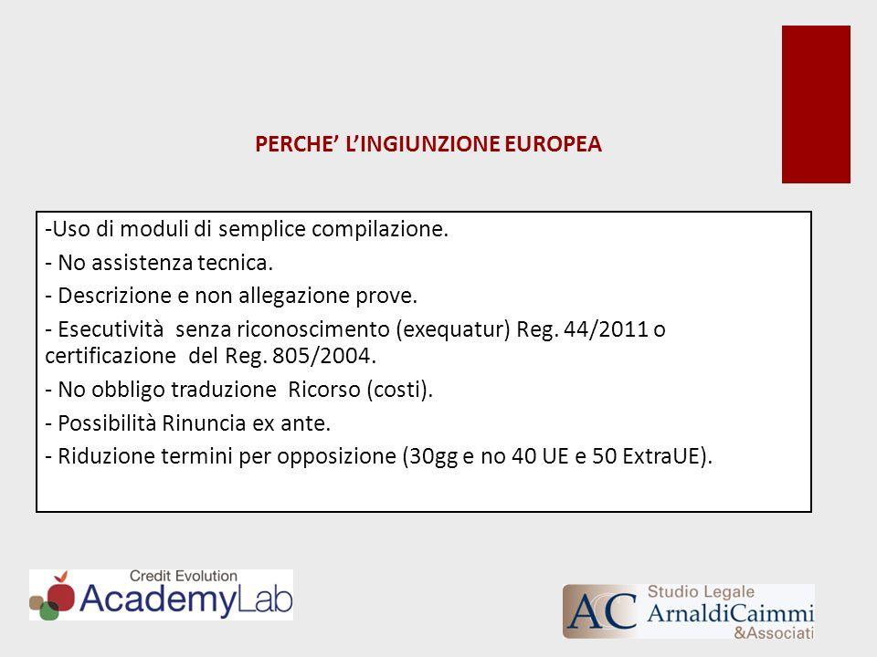 PERCHE LINGIUNZIONE EUROPEA -Uso di moduli di semplice compilazione. - No assistenza tecnica. - Descrizione e non allegazione prove. - Esecutività sen