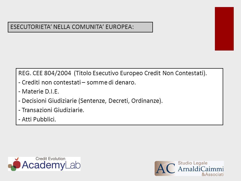 ESECUTORIETA NELLA COMUNITA EUROPEA: REG. CEE 804/2004 (Titolo Esecutivo Europeo Credit Non Contestati). - Crediti non contestati – somme di denaro. -