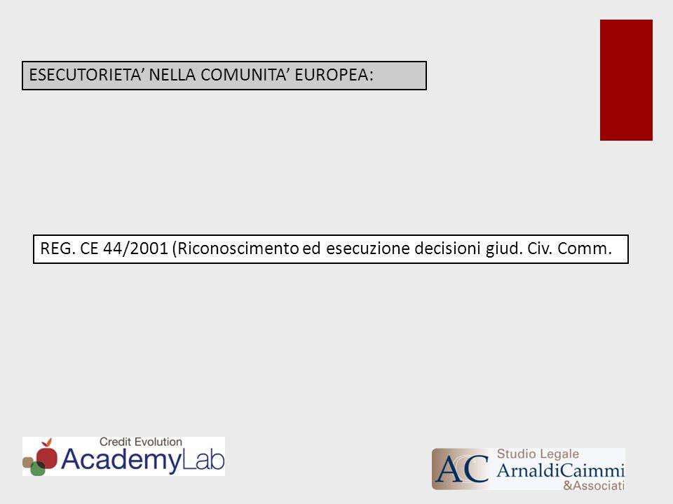 ESECUTORIETA NELLA COMUNITA EUROPEA: REG. CE 44/2001 (Riconoscimento ed esecuzione decisioni giud. Civ. Comm.