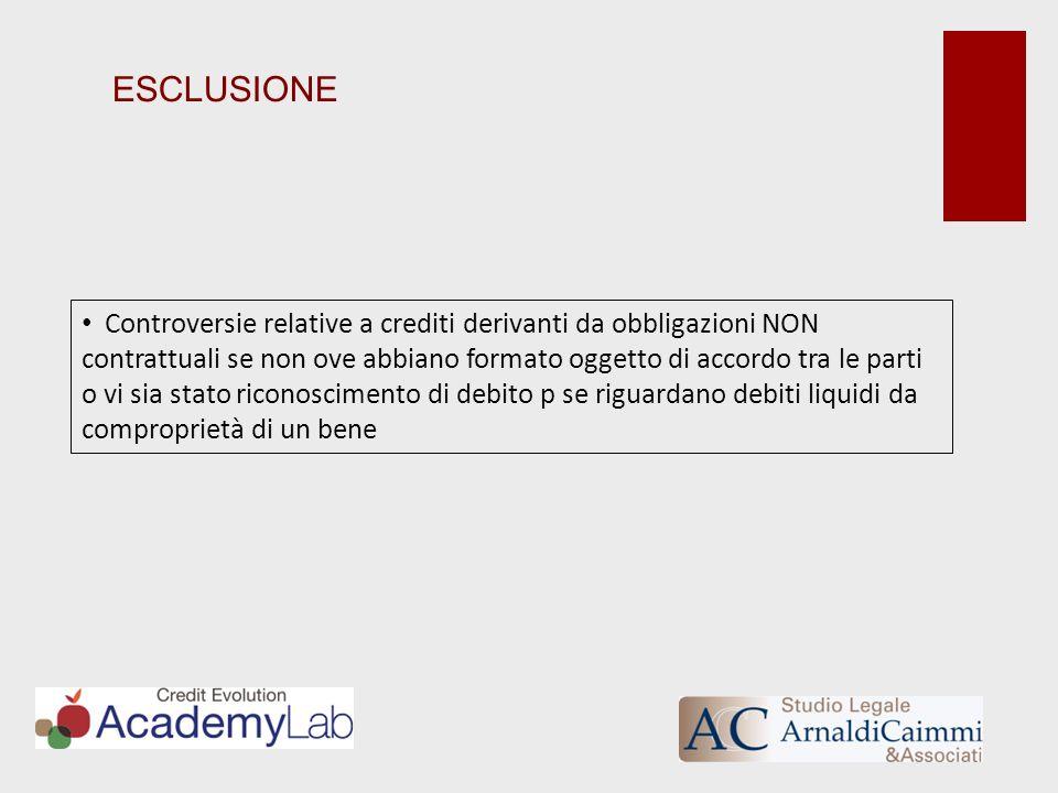ESCLUSIONE Controversie relative a crediti derivanti da obbligazioni NON contrattuali se non ove abbiano formato oggetto di accordo tra le parti o vi