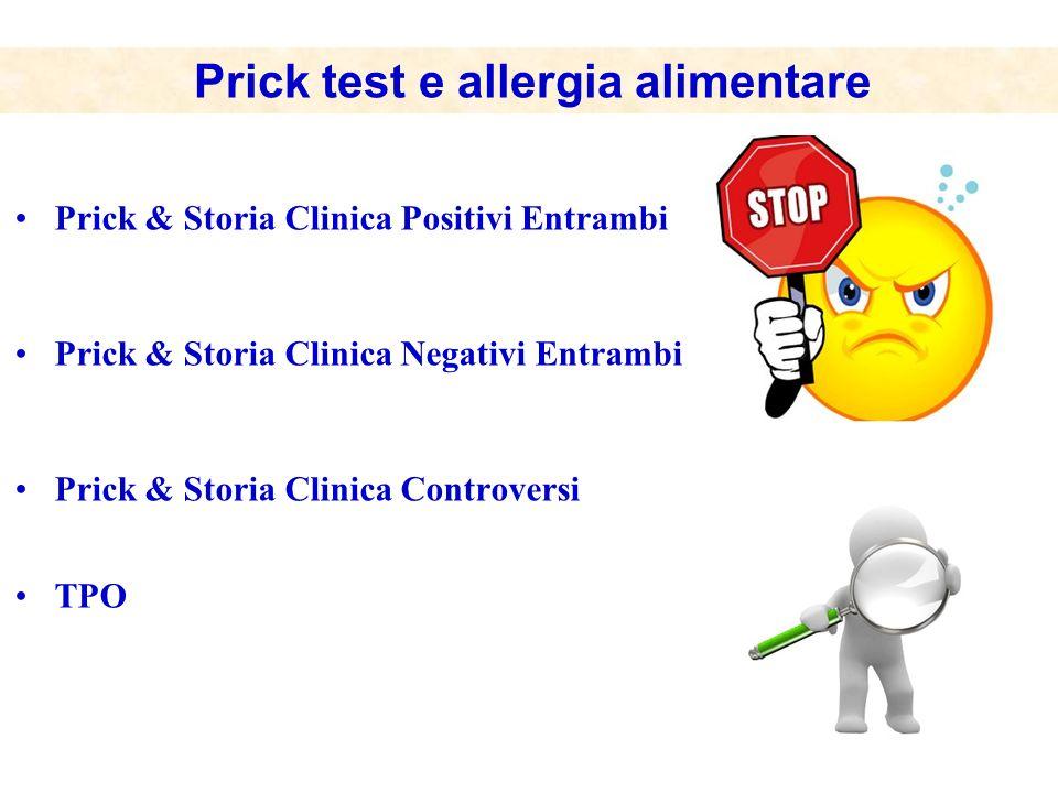 Prick & Storia Clinica Positivi Entrambi Prick & Storia Clinica Negativi Entrambi Prick & Storia Clinica Controversi TPO Prick test e allergia aliment