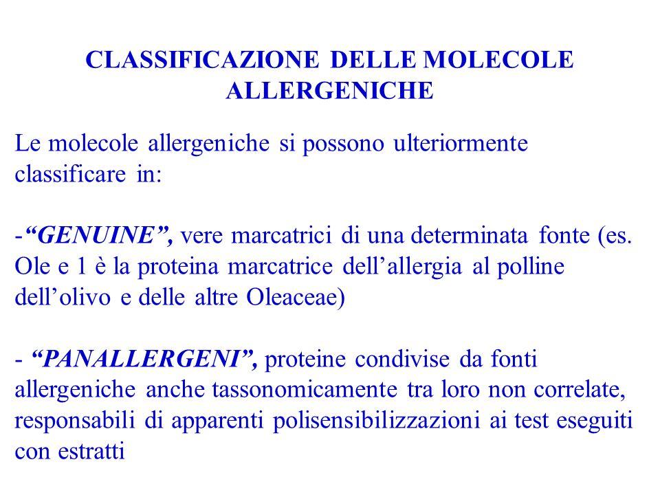 CLASSIFICAZIONE DELLE MOLECOLE ALLERGENICHE Le molecole allergeniche si possono ulteriormente classificare in: - -GENUINE, vere marcatrici di una dete