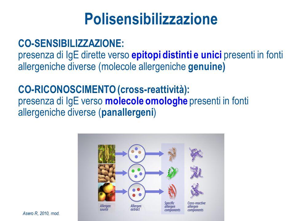 CO-SENSIBILIZZAZIONE: presenza di IgE dirette verso epitopi distinti e unici presenti in fonti allergeniche diverse (molecole allergeniche genuine) CO